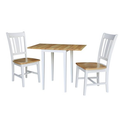 Cain Small Dual Drop Leaf Dining Set with 2 San Remo Chairs White/Natural - International Concepts
