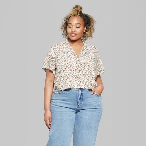 bcbffa6aff69b Women s Plus Size Floral Short Sleeve Cropped Button-Down Shirt - Wild  Fable™ Cream 3X   Target