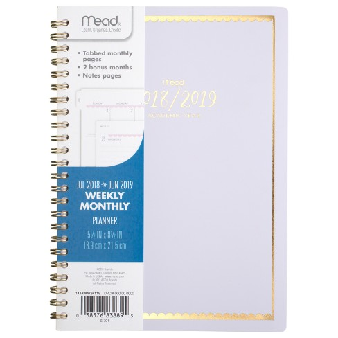2018 19 academic planner 5 5 x 8 5 scalloped gold foil mead target
