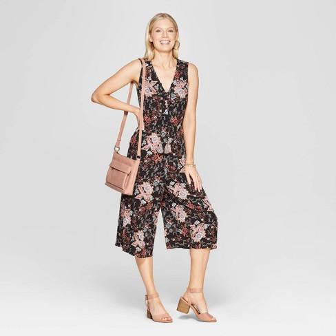 6dc9965ea07c Women s Sleeveless V-Neck Front Button-Down Back Smocking Jumpsuit - Knox  Rose™ Black