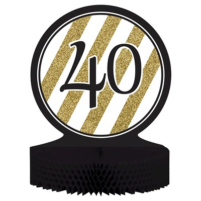 Black & Gold 40th Birthday Centerpiece