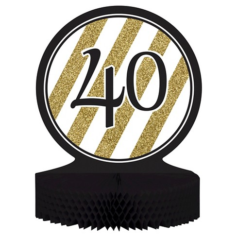 Black & Gold 40th Birthday Centerpiece - image 1 of 2