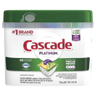 Cascade Platinum ActionPacs Lemon Scent Dishwasher Detergent - 48ct