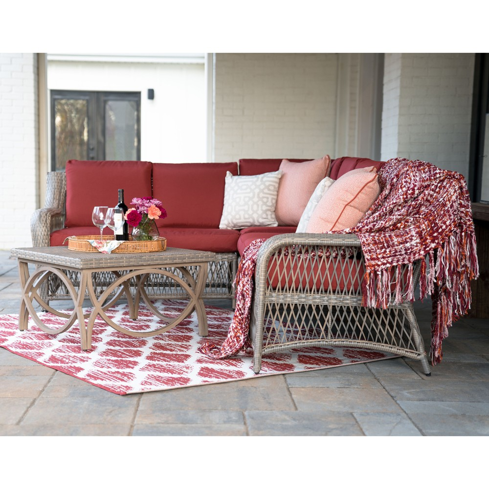 5pc Birmingham All-Weather Wicker Corner Sectional Red - Leisure Made