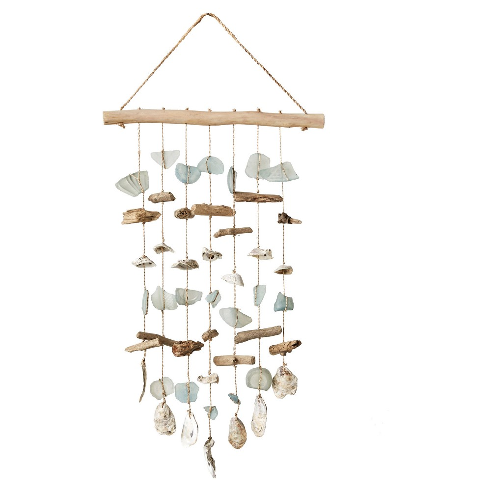 Image of Driftwood, Sea Glass, Shell Hanging Wind Chime - 3R Studios