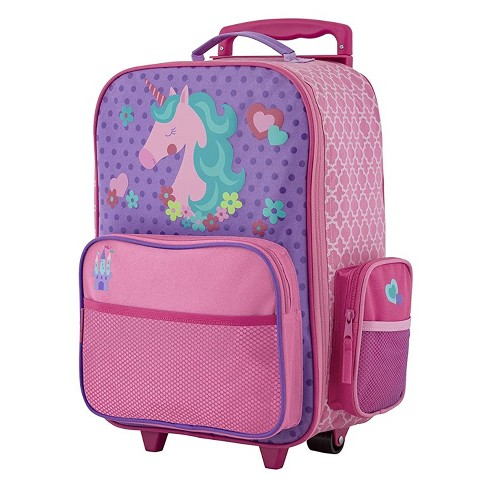 Stephen Joseph Fun Kids Themed Classic Rolling Luggage Polyester Carry On Suitcase with Multiple Pockets and Extendable Handle, Unicorn - image 1 of 4