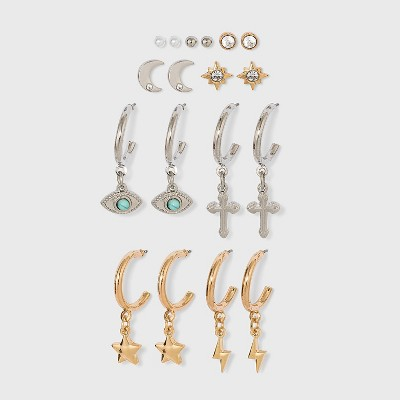 Celestial Charm Hoop Earring Set 9pc - Wild Fable™ Dark Silver