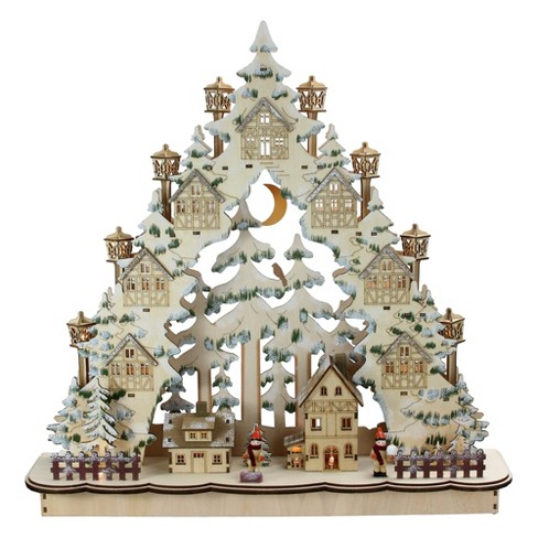 """Roman 18.75"""" LED Laser Cut Woodland Town in a Tree Christmas Tabletop Decor - image 1 of 3"""
