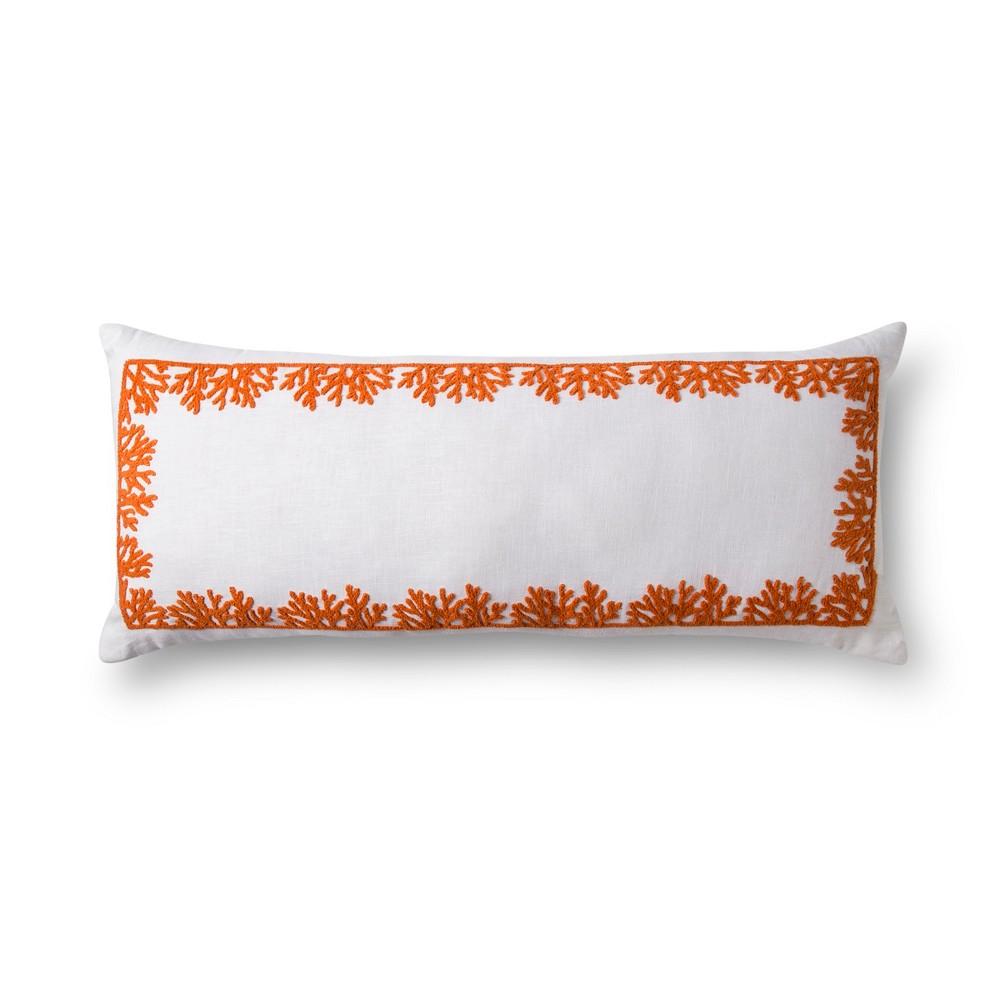 Image of Orange Embroidered Oversized Lumbar Pillow - No Coast, Beige