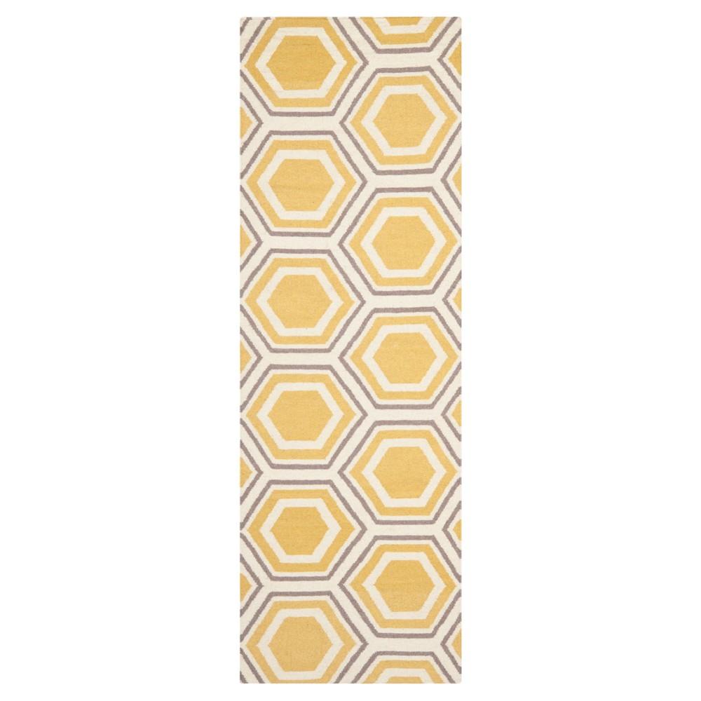 Ivory/Yellow Abstract Woven Runner - (2'6x12' Runner) - Safavieh
