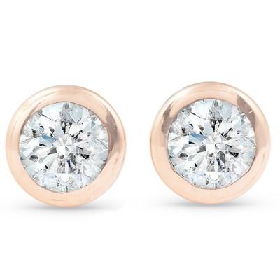Pompeii3 1/3 ctw 14k Rose Gold Diamond Bezel Martini Stud Earrings