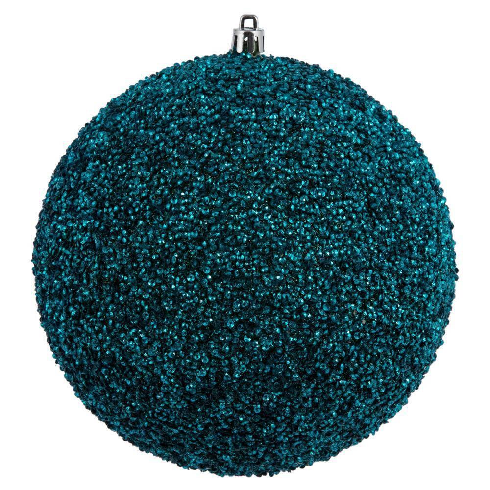 "Image of ""4ct Vickerman 6"""" Beaded Ball Ornament Sea Blue"""