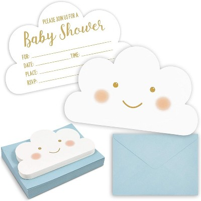36-Pack Happy World Cloud Party Invitations with Blue Envelopes, Cute White Fill-in Invitation Cards for Baby Shower, 5x7 inches