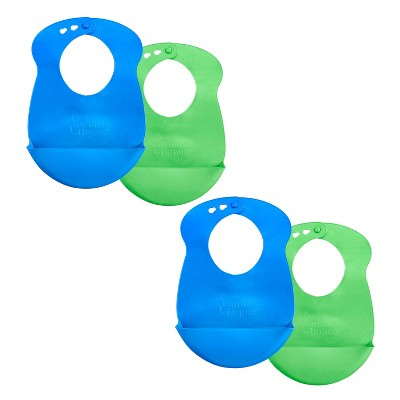 Tommee Tippee Roll 'n' Go Baby Drip Catcher Bib 7+M - 4pk Blue/Green