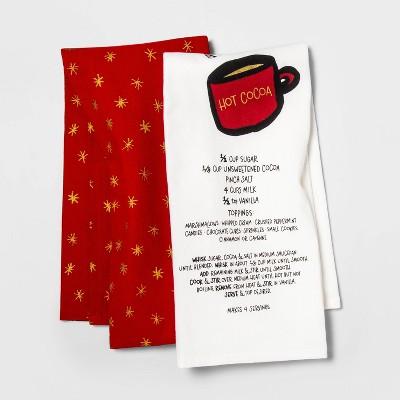 2pk Hot Star Tea Towels Cocoa/Metallic - Opalhouse™