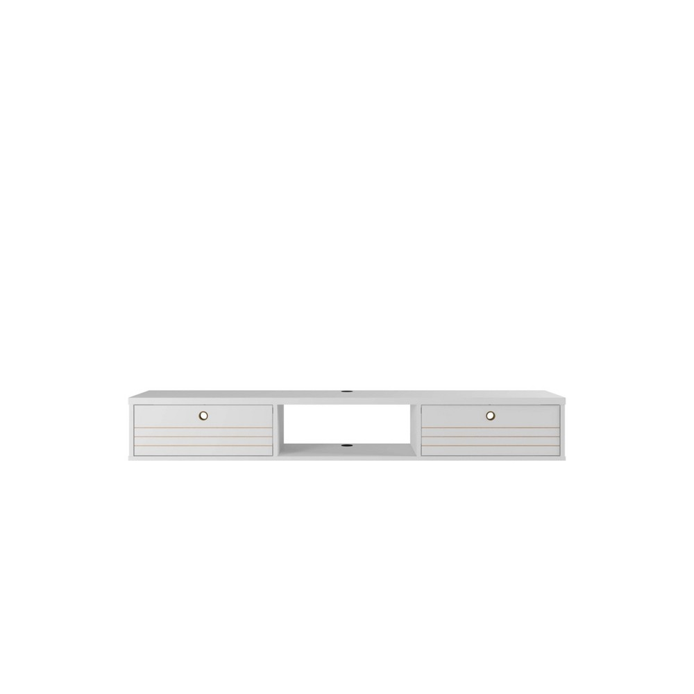 "62.99"" Liberty Floating Office Desk White - Manhattan Comfort"