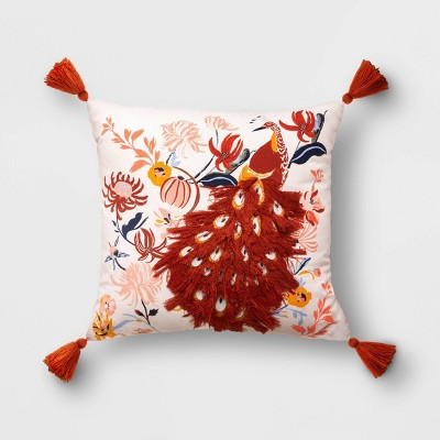 Square Embroidered Peacock Pillow Blush - Opalhouse™