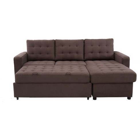 Bernard Tufted Microfiber Convertible Sofa with Storage in Espresso - image 1 of 8