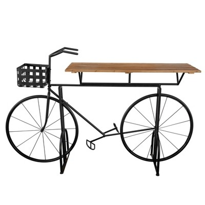 """20"""" Bike Metal/Wood Plant Stand - Brown/Black - Sagebrook Home"""