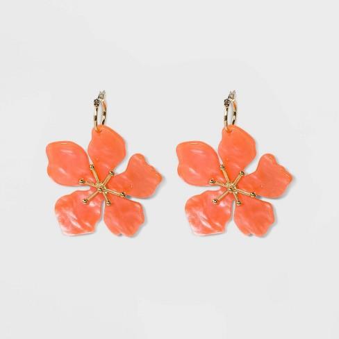 db34c57d7699 SUGARFIX By BaubleBar Feminine Flower Drop Earrings - Coral : Target