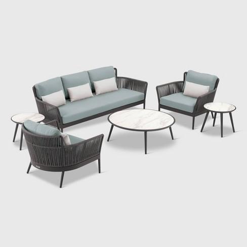 6pc Nette Sofa Patio Seating Set Black/Seafoam/Grey - Oxford Garden - image 1 of 1