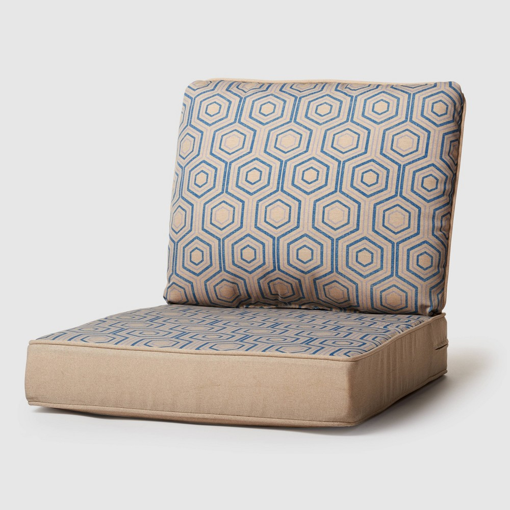 Image of 2pc Rolston Outdoor Seat and Back Replacement Cushions Beige - Grand Basket