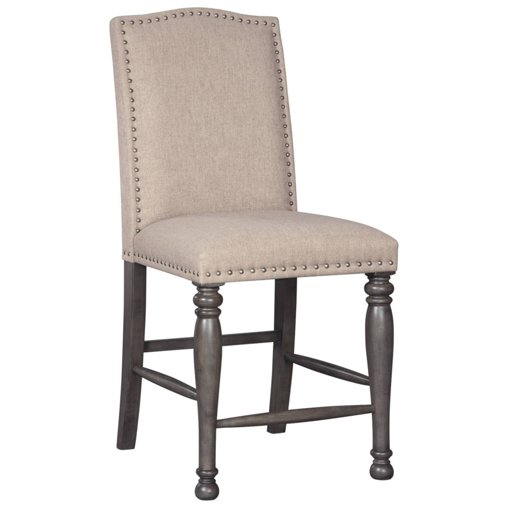 Set of 2 Audberry Upholstered Barstool Dark Gray - Signature Design by Ashley