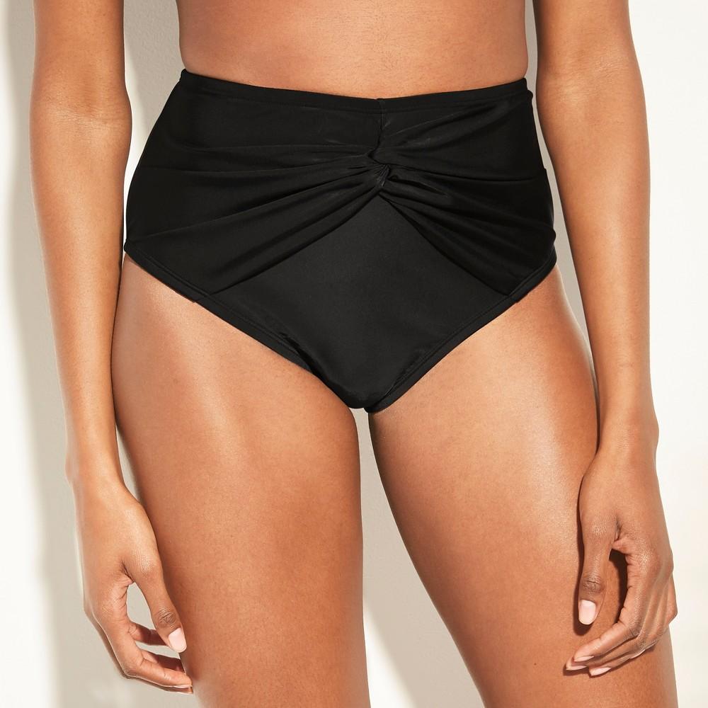 Women's Full Coverage Twist Front High Waist Bikini Bottom - Kona Sol Black XL