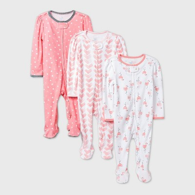 Baby Girls' 3pk Flamingo Parade Sleep N' Play - Cloud Island™ Pink 6-9M