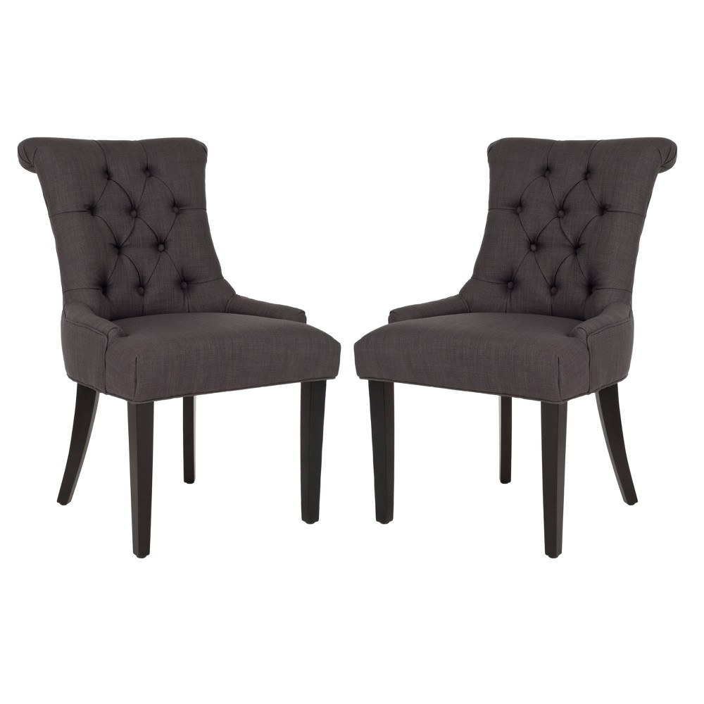 Set of 2 Dining Chairs Charcoal (Grey) - Safavieh