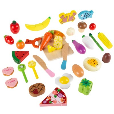 Toy Time Kids' Magnetic Wooden Toy Food and Kitchen Accessories - Set of 32