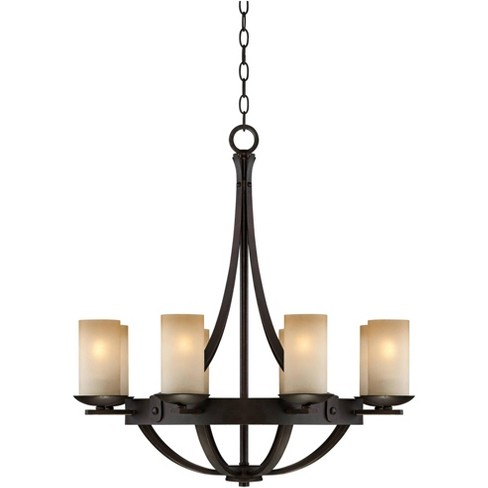 Franklin Iron Works Industrial Bronze Chandelier 28 Wide Rustic Farmhouse Cylinder Scavo Glass 8 Light Fixture Dining Room House Target