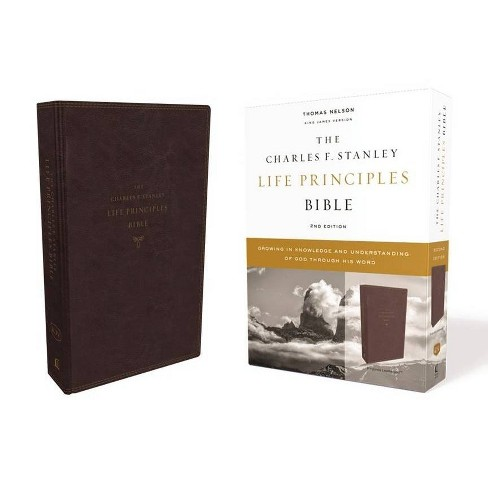 Kjv, Charles F. Stanley Life Principles Bible, 2nd Edition, Leathersoft, Burgundy, Comfort Print - image 1 of 1