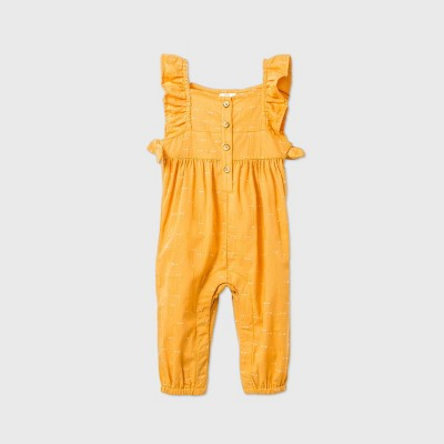 Baby Girls' Woven Romper - Cat & Jack™ Gold 3-6M
