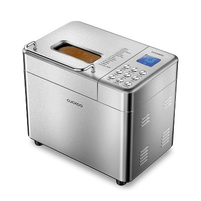 Cuckoo CBM-AAB101S Bread Maker Machine with 15 Bake Settings, 3 Crust Colors, 3 Loaf Sizes, And Up to 15 Hour Delay Timer, Silver