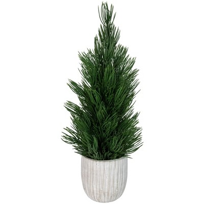 """Northlight 13.25"""" Mini Fir Artificial Tabletop Christmas Tree with Cement Base - Unlit"""