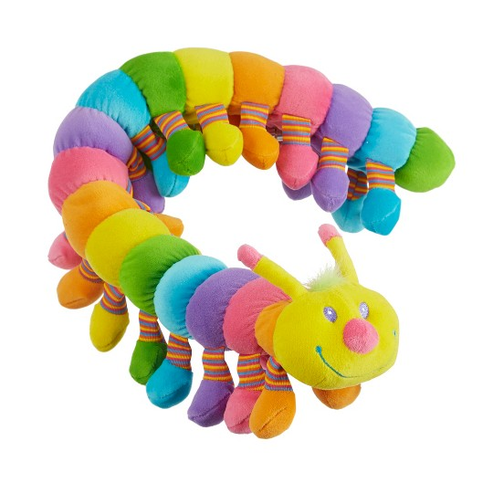 Melissa & Doug Longfellow Caterpillar - Rainbow-Colored Stuffed Animal With 32 Floppy Feet (over 2 feet long) image number null