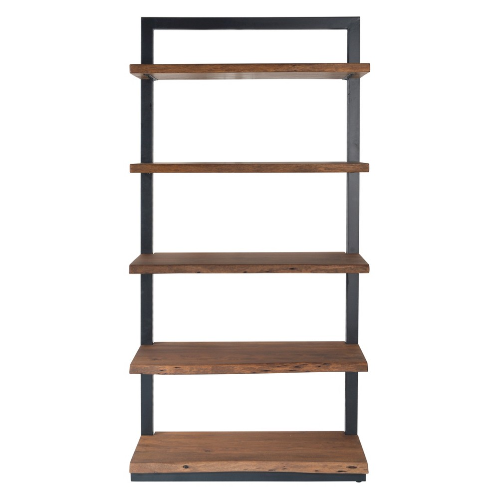 75 Sequoia Natural Live Edge 5 Shelf Bookcase Light Brown - Treasure Trove
