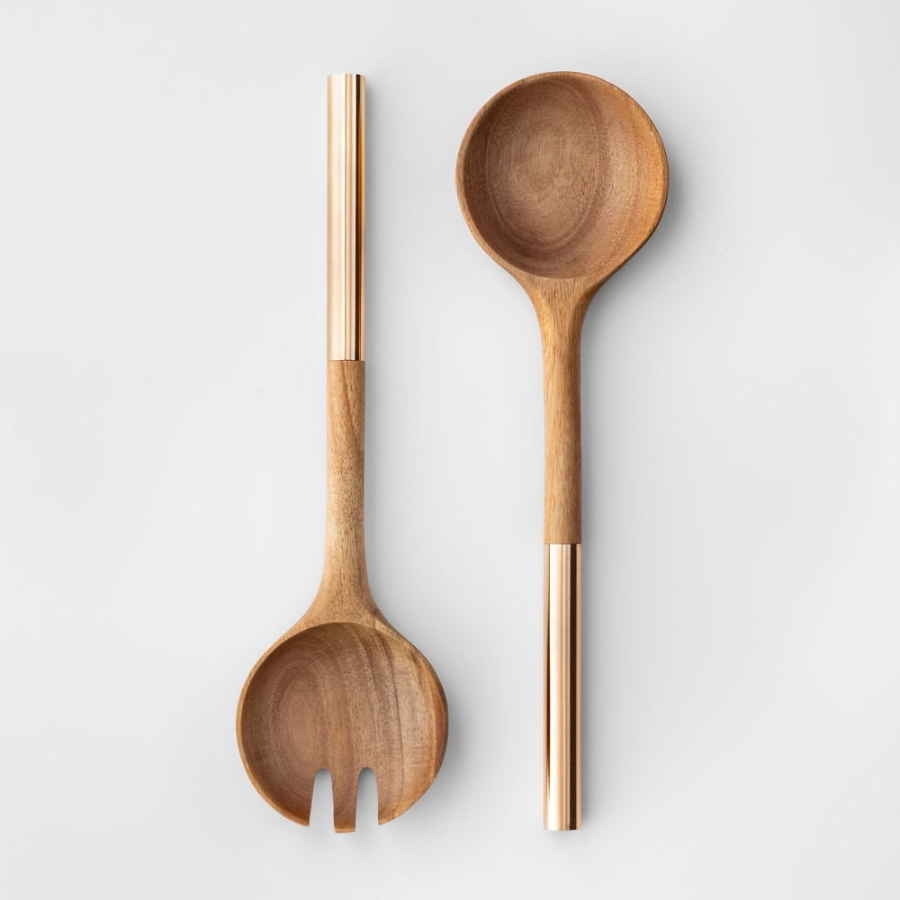 Image of Cravings by Chrissy Teigen 2pc Acacia Wood Salad Serving Set