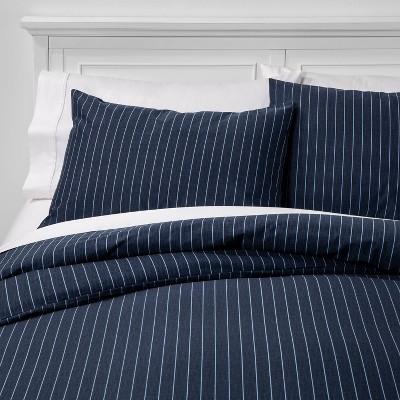 Full/Queen Family Friendly Stripe Duvet & Pillow Sham Set Navy - Threshold™