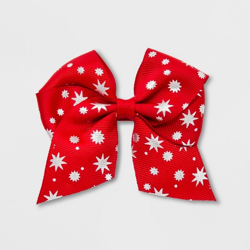 Girls' Love Stars Metallic Print Bow Clip - Cat & Jack™ Red - image 1 of 3