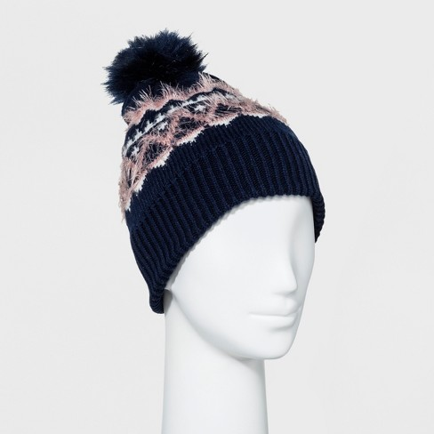 Women's Fair Isle Beanie With Pom - A New Day™ Navy One Size - image 1 of 1
