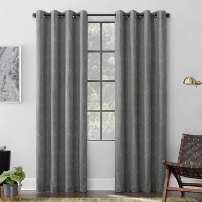 96 X52 Elkay Woven Geometric Pattern Total Blackout Grommet Curtain Panel Gray Scott Living Target