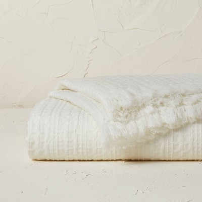Oversized Waffle Weave Bed Throw White - Opalhouse™ designed with Jungalow™