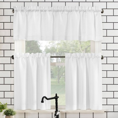 Martine Microfiber Semi Sheer Rod Pocket Kitchen Curtain Valance and Tiers Set - No. 918