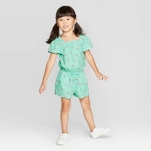 Toddler Girls' Rainbow Print Romper - Cat & Jack™ Aqua - image 1 of 3