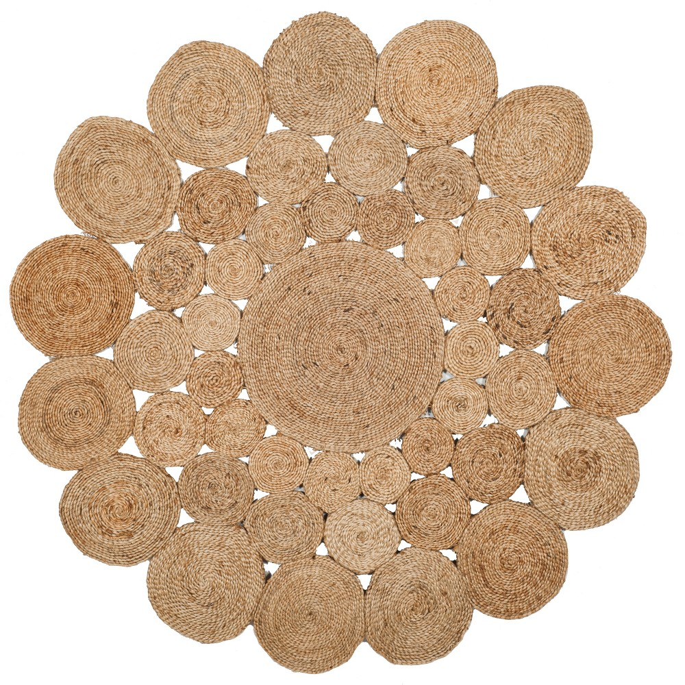 5' Solid Woven Round Area Rug Natural - Safavieh, White