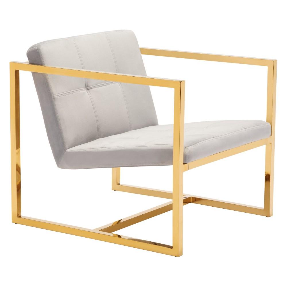 Modern Velvet Arm Chair Gray - ZM Home