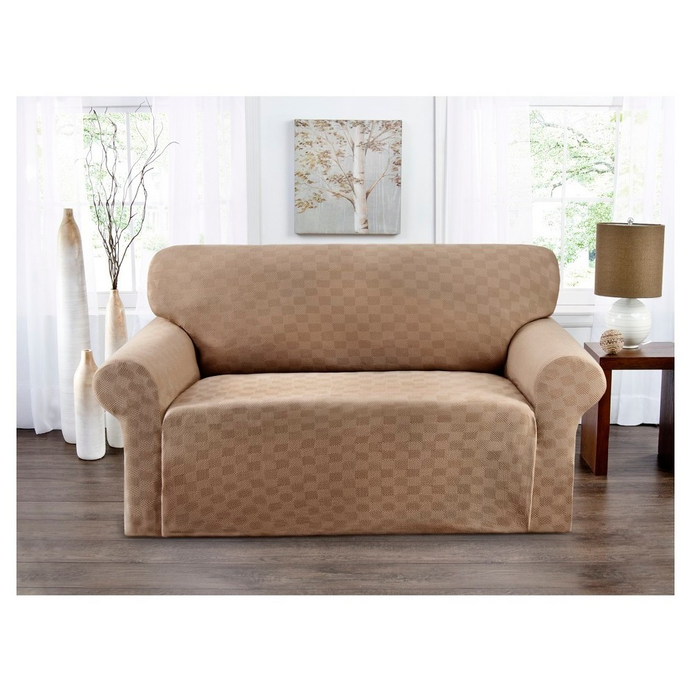 Image of Beige Solid Loveseat Slipcover