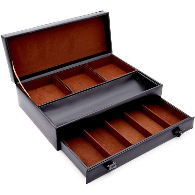 Juvale Black Faux Leather Dresser Organizer, Valet Tray for Watches and Jewelry (13 x 9 x 4 in)